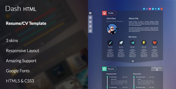 Dash is a HTML theme built mainly for talented people who are looking to showcase their talent in a stylish and yet extremely modern way. Highly customizable and extremely user-friends, it provides a wide range of possibilities