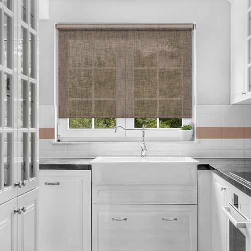 Voile roller blind in a shade of Cedar Brown in an open weave texture.