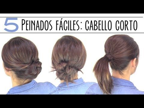 5 peinados fáciles para cabello corto. 5 easy hairstyles for short or medium hair.
