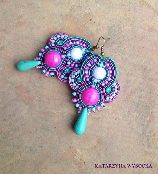 Soutache earrings Candies turquoise and violet de Magia Soutache