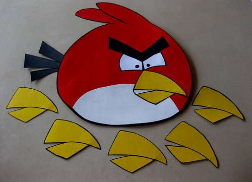 Pin the Beak on the Angry Bird, or you could put up a map of the place your shooting at and play hit the pig with the angry bird