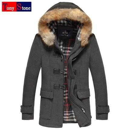 c9e53b9fc1e New Arrival Fashion Autumn Winter Long Sleeves Fur Hooded Collar Horn  Buttons Slim Wool Jackets Cashmere