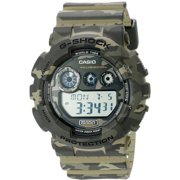 G-Shock GD-120CM Sport Watches (£87) ❤ liked on Polyvore featuring jewelry, watches, military style watches, military wrist watch, digital sport watch, digital watches y g shock watches