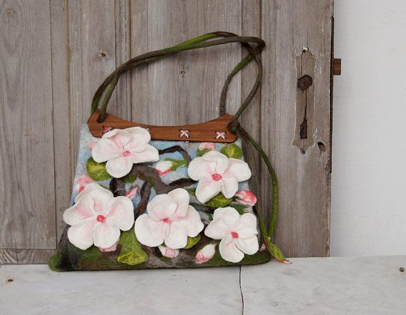 Unique felted bag with 3D sakura flowers with wooden by filcAlki