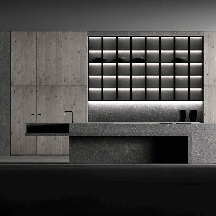 @doca_mueblesdecocina presents this newcontemporary kitchen Luxury Stone Argus with the Rock strength.  A kitchen to highlight the columns of storage of more than 3 meters high which are made in two bodies and a central area with a showcases black matte anodized aluminum and translucent glass. _ Find more on Archiproducts.com _ #archiproducts (★)