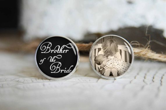 Brother of the bride personalized photo cufflinks, cool gifts for men, custom wedding silver plated or black cuff link