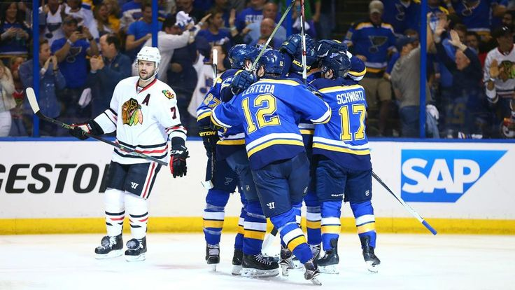 The Chicago Blackhawks and their title defense came to an end against the St Louis Blues, who had Troy Brouwer to thank in the third period.