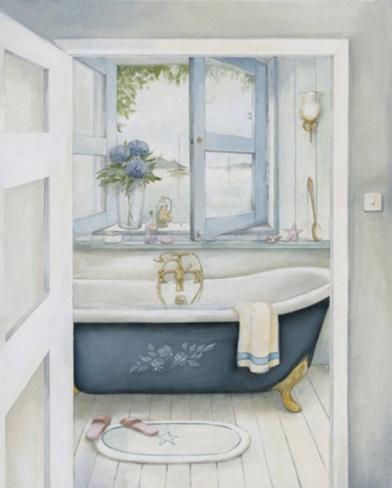 Blue Hydrangea Bath Print by Julia Hawkins at Art.com
