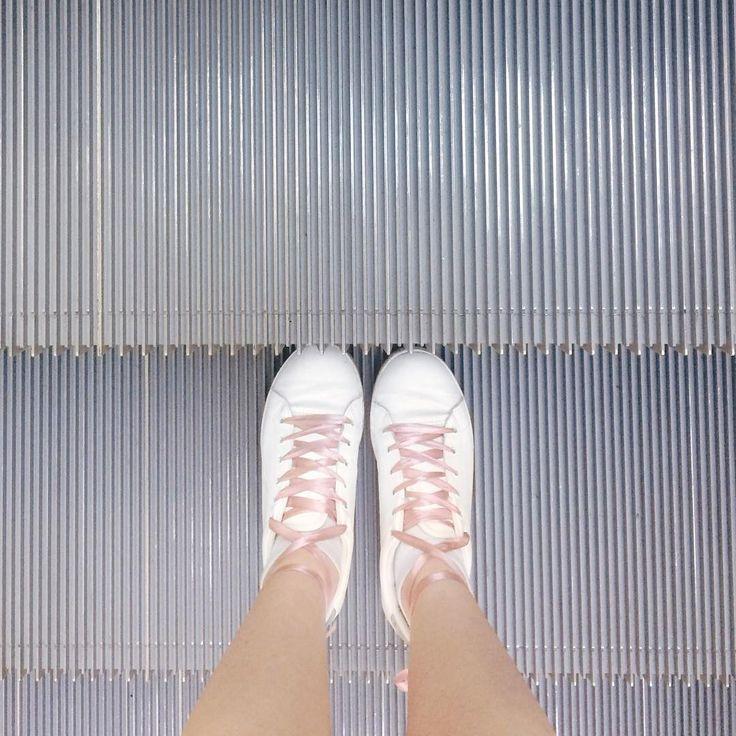 @happilyem  Pink ribbons // white sneakers