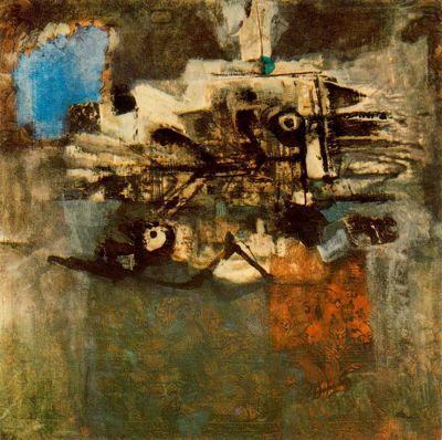 """Antoni Clavé Sanmartí (1813 - 2005). """"Deux poissons, 1959"""". Pintura y collage sobre tapiz. Colección Tamenaga. Tokio. Japón."""