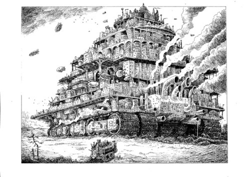 London traction city drawing by Philip Reeve. I do wish there was a comic book version of the Mortal Engines series.