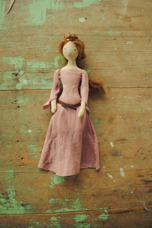 Handmade cloth doll wearing copper crown - by Willowynn