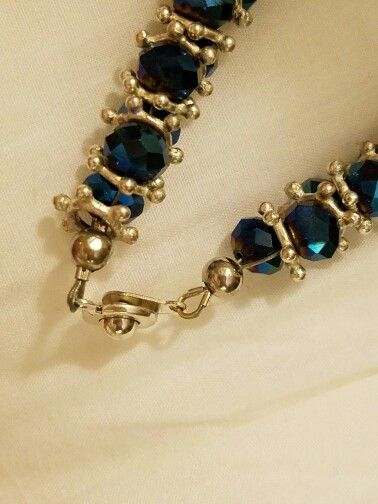 Blue Jump ring zigzag bracelet on bead wire- ends