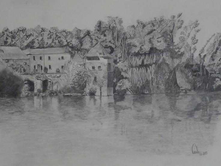 paysage des Pyrénées - crayon graphite