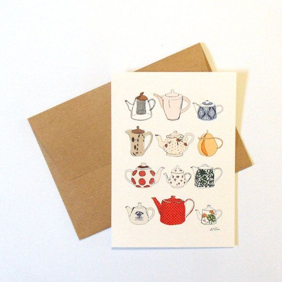 Teapots postcard birthday card for tea lovers perfect tea gift teapot art print vintage teapots print art postcard greeting cards by AnnaGrundulsDesign
