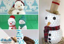 Schneemann basteln aus tollen Materialien – mit Vorlage