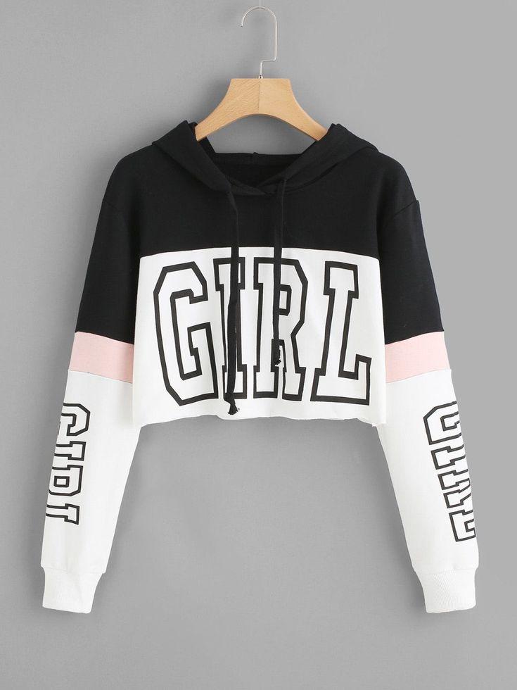 Girl Print Block Crop Hoodie