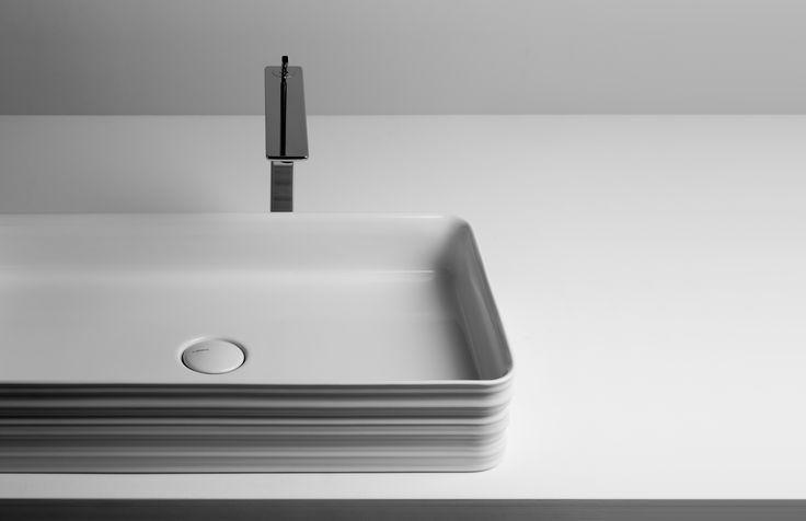 Trace, 2013 for Valdama. Washbasin collection design by Gianni Venziano and Luciana Di Virgilio/V+T -Photo Antonio Rasulo #Trace #bathroom #washbasin #ceramic #sculpture #sign #design #GianniVeneziano #LucianaDiVirgilio #VenezianoTeam