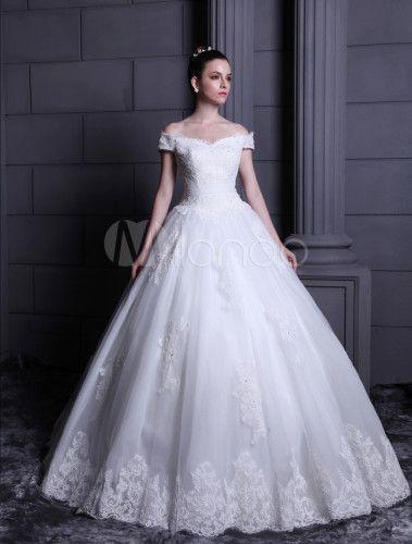 ウェディングドレス,ホワイト イブニングドレス オフショルダー チュール スパゲッティーストラップ フロアレングス