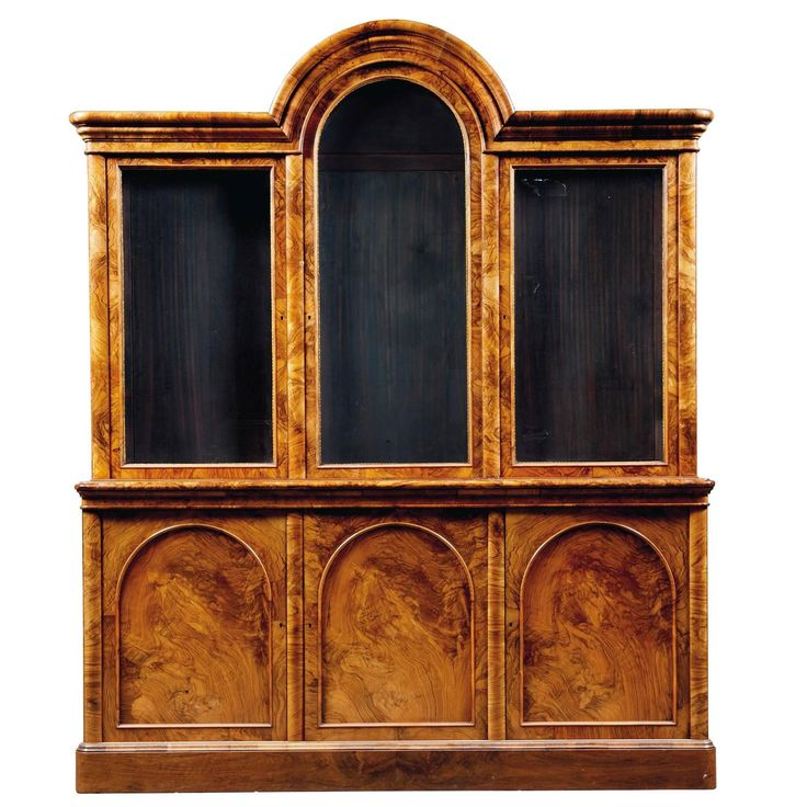 Burr-Walnut Victorian Bookcase | From a unique collection of antique and modern bookcases at https://www.1stdibs.com/furniture/storage-case-pieces/bookcases/