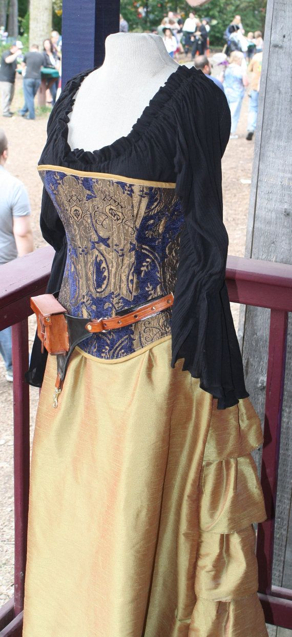 Large Blue and Gold Corset by SilverLeafCostumes on Etsy, $175.00