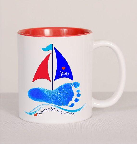 Sailboat Footprint Mug Baby Toddler by SpecialtyCreations4U