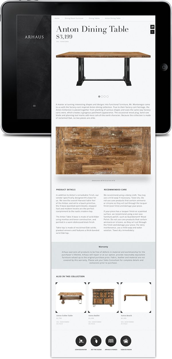 Consumer Side Tablet App For Arhaus Furniture Allows You To Browse Arhausu0027s  Catalogue And Explore The Furnitures Beginnings In One Of Their