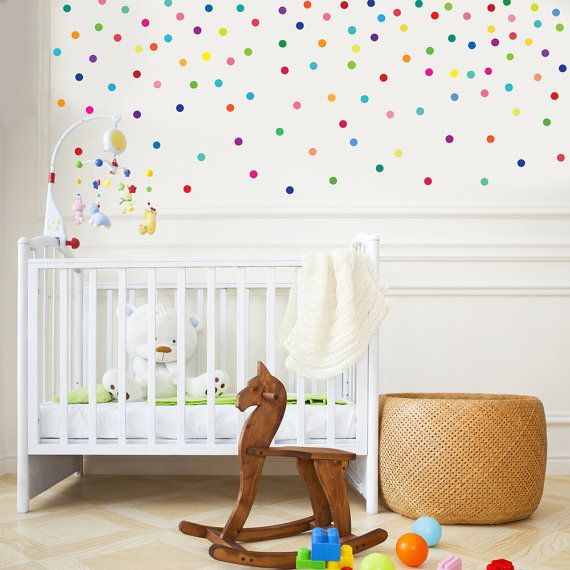 121 fun rainbow bright multi-color 2 dot confetti adhesive fabric wall decals that are removable and reusable wall stickers. Our polka dot wall