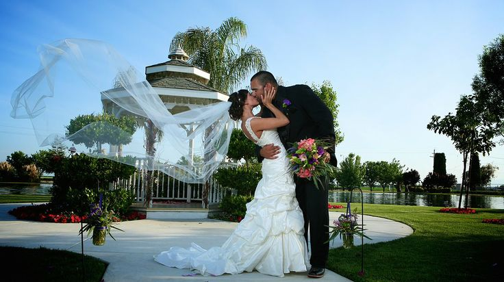 The gazebo and lake are beautiful back drops for wedding pictures ...