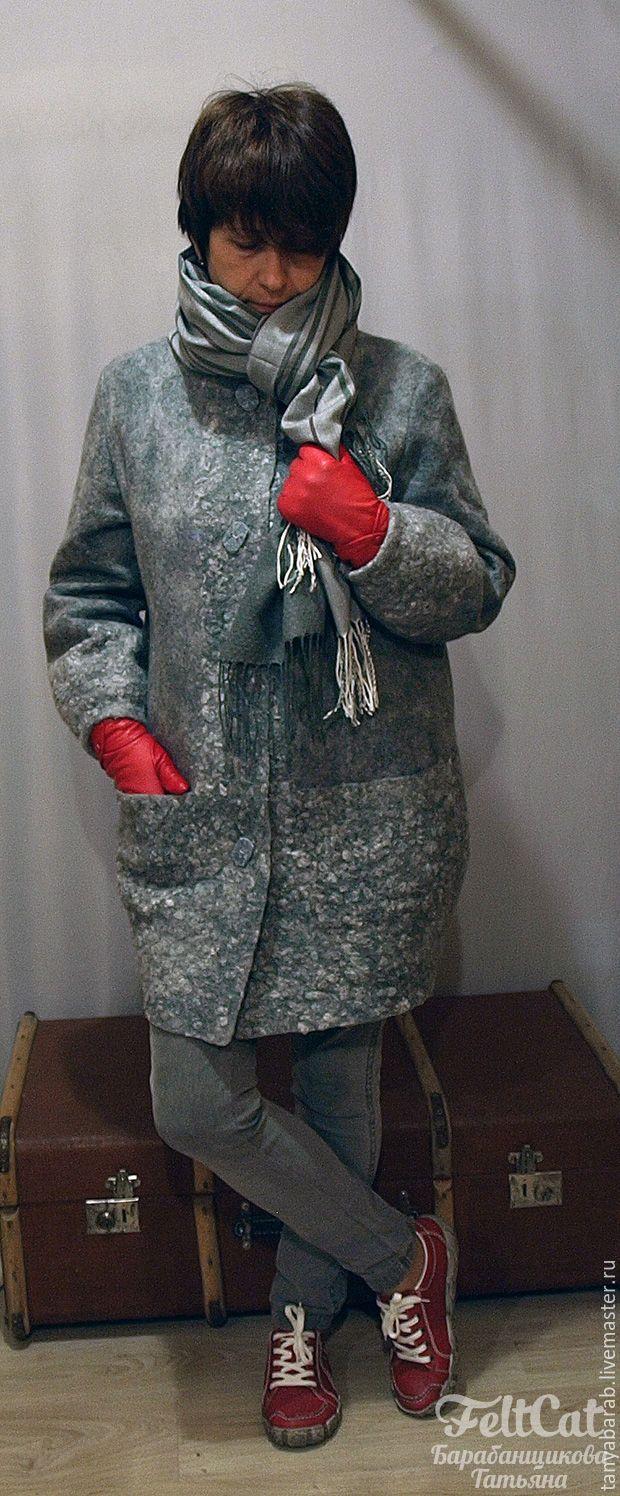 """Купить Пальто войлок """" Оттенки серого"""" - серебряный, светло-серый, оттенки…"""