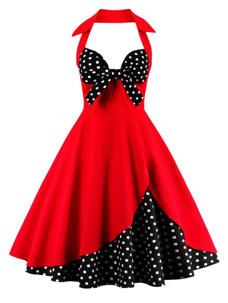 Halter Vintage Polka Dot Dress