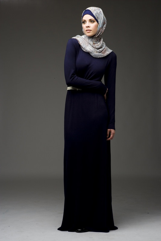 Jersey abaya - I'm guessing it's not too modest but I like the overall look. Maybe with a cardigan on top?