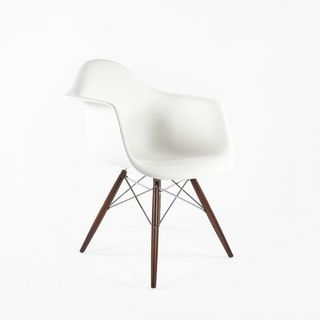 midcentury modern daw molded plastic armchair walnut and chrome base white inspired by charles and ray e