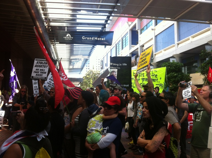 Protesting outside Sky City Convention Centre