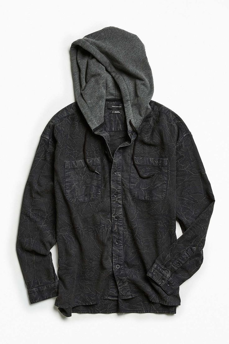 UO Acid Wash Hooded Flannel Button-Down Shirt
