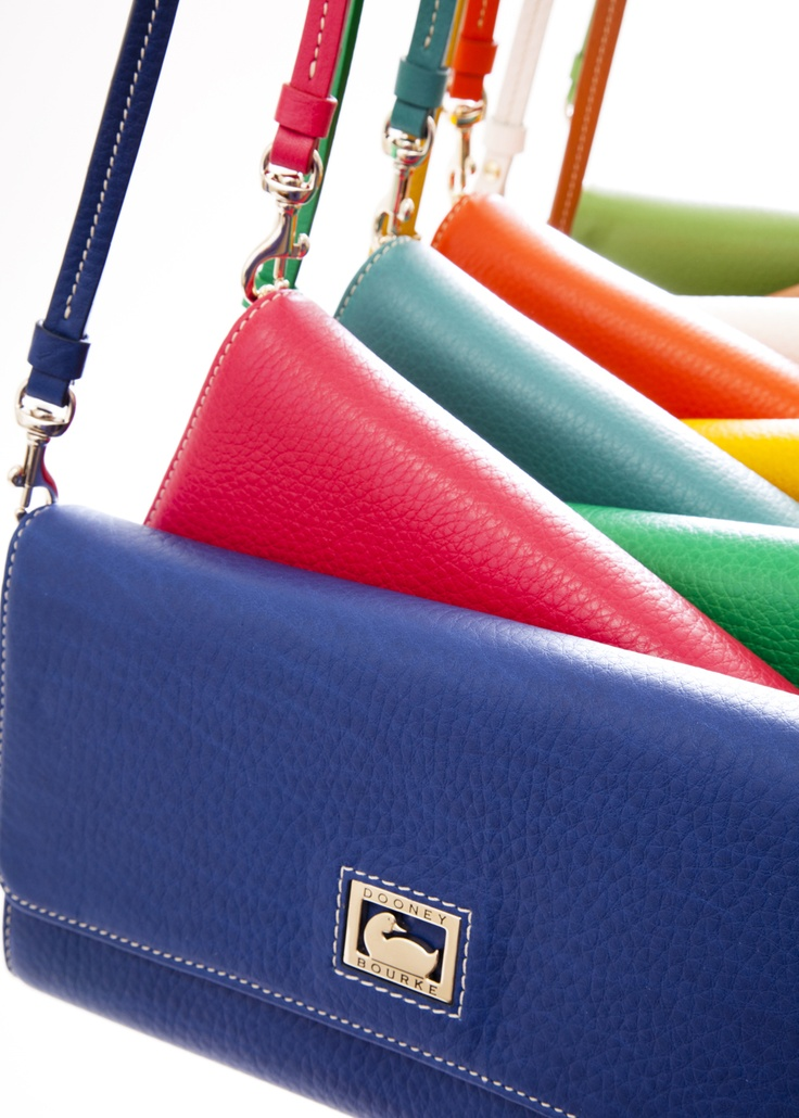 Dillen II Clutch, 6L325, in Ocean Blue, Strawberry, Green, Sea Foam, Sunflower, Tangerine, White and Grass.: Dooney Clutches, Bourke Handbags, Bourke Clutches Y, Bags Totes Clutches, Favorit Pur, Color Dooney Burk, Bright Color, Dooney Bourke, Dooney And Bourke Wallets