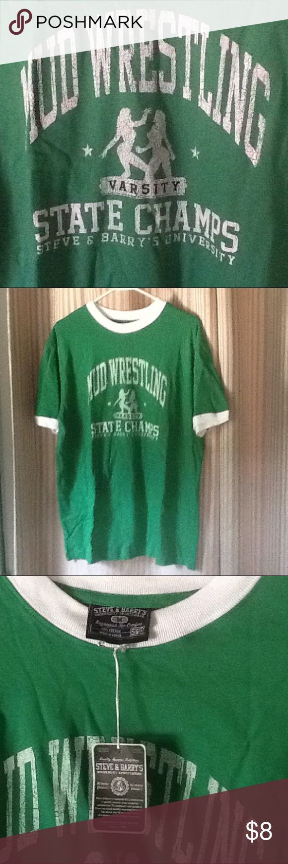 Steve & Barry's University Mud Wrestling T-shirt Steve & Barry's University Sportswear Mud Wrestling Varsity State Champions T-shirt. Size M. NWT. Green and white. Cool retro looking shirt! Steve & Barry's Shirts Tees - Short Sleeve