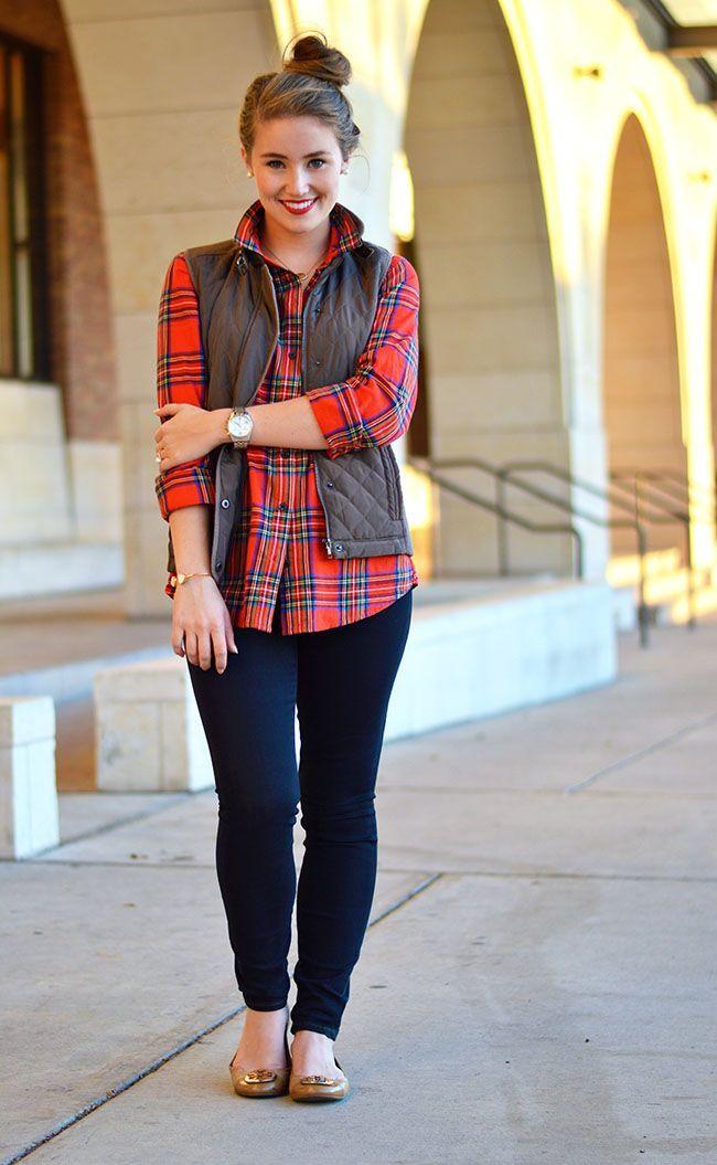 dark skinny jeans + red tartan flannel shirt + quilted vest