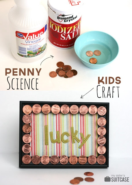 """St. Patrick's Day craft for the kids! Shine """"lucky"""" pennies and make a frame!"""