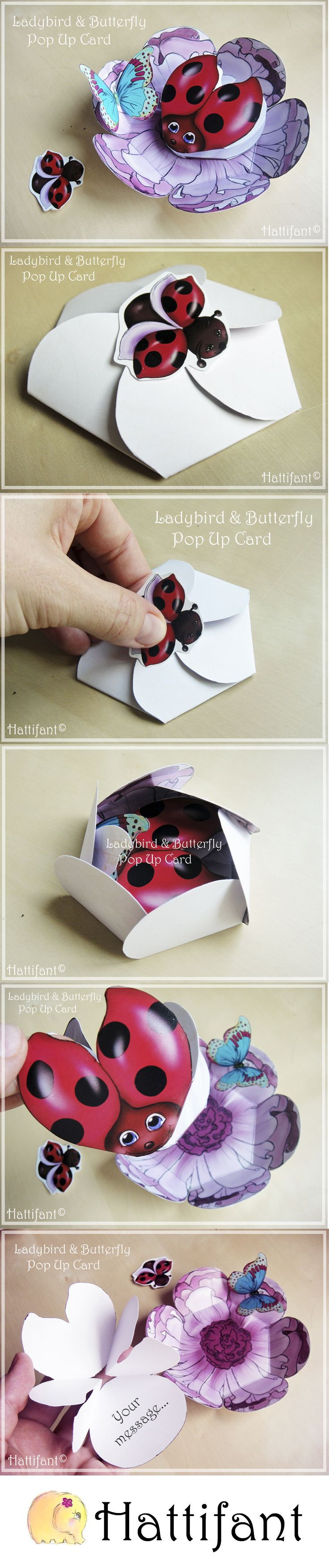 Hattifant's Ladybird & Butterfly Pop Up Card