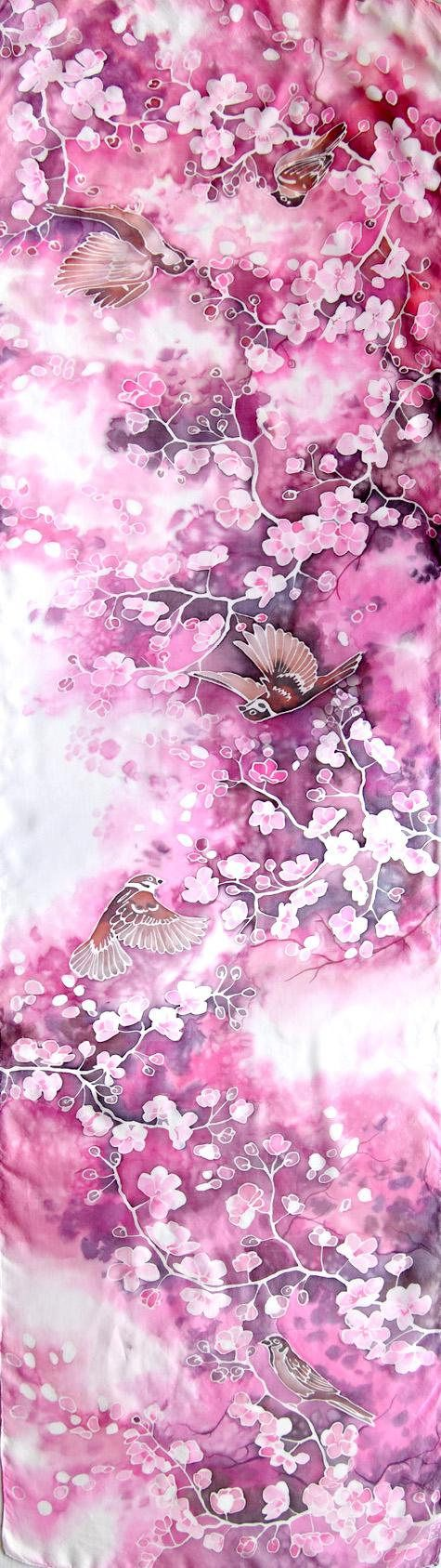Cherry blossom scarf - sparrows birds scarf - animal art spring scarves pink scarf hand painted sakura tree japan style gift for mom for the Mothers Day Cherry blossom scarf is a hand painted scarves with a design of flying sparrows birds and sakura tree. It is painted as a spring time gift