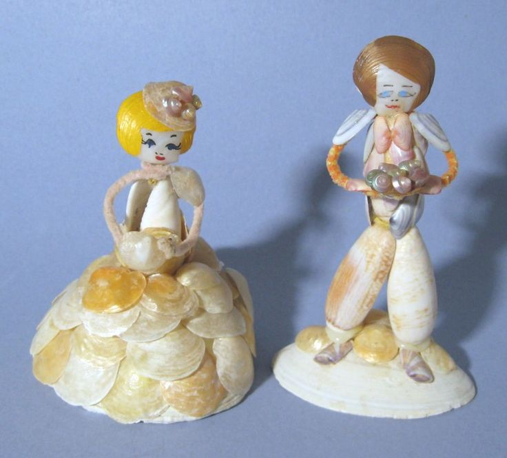 Vintage Sea Shell Folk Art Man and Woman Bride and Groom Figurines #NaivePrimitive