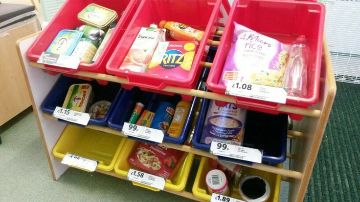 Trolley with plastic tubs = shopping shelves! Blue tack some supermarket labels. Food is filled with newspaper and sellotaped together to make it feel more real