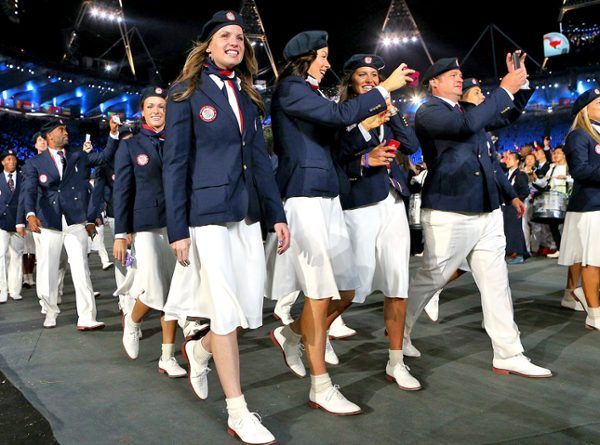UNITED STATES  Love it or hate it, Ralph Lauren's preppy Olympic uniform has already generated plenty of press. So instead of recapping the red, white and blue skirt and pant suits, we'd like to direct your attention to the retro footwear on our fine female Olympians. Shudder. Bobby socks and brogues are so universally unflattering—may we suggest trading Mr. Lauren to a competitor like Russia or Great Britain for 2016?