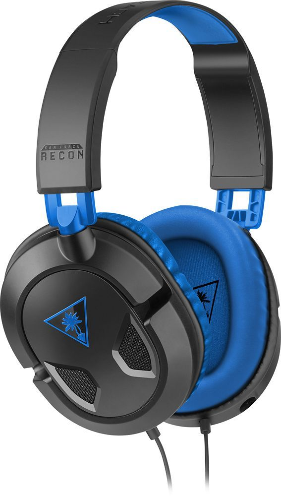 Turtle Beach - EAR Force Recon 60P Over-the-Ear Gaming Headset for PS4, Xbox One, PC and Mobile - Black/Blue, TBS-3308-01