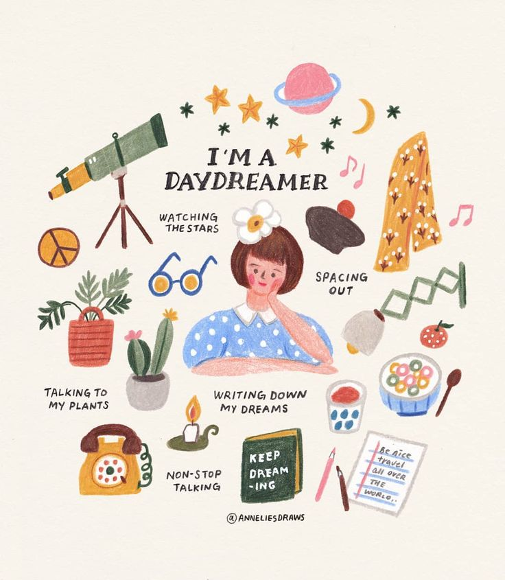 Hands up if you are a daydreamer ♀️ I am! Do you have any fun plan for the weekend? I really couldn't sleep well this week, so first I want a very long and deep sleep :).많은 생각과 상상을 하는 몽상가-  어제 라이브 켜놓고 같이 그렸는데 즐거웠습니다 :).#illustratorsoninstagram #illust #일러스트 #손그림.  #Regram via @anneliesdraws