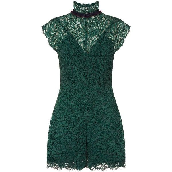 Sandro Ruffle Trim Lace Playsuit (£239) ❤ liked on Polyvore featuring jumpsuits, rompers, green rompers, ruffle rompers, ruffle romper, flounce romper and green romper