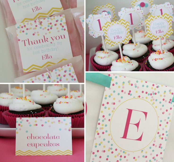 Confetti Birthday Party - PRINTABLE ONLY - Banner, Toppers, Tags, Invitation and more. $25.00, via Etsy.