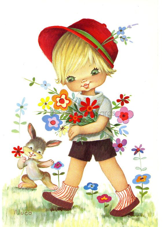 Vintage Postcard of a Big Eyed Boy and his rabbit by Nuco.