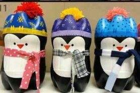 Bricolage pingouin à partir de bouteilles en plastique